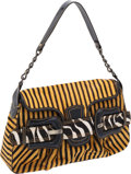 Luxury Accessories:Bags, Fendi Yellow & Brown Striped Zebra Ponyhair Shoulder Bag withBlack Patent Leather Trim. ...