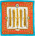 "Luxury Accessories:Accessories, Hermes White, Gold, and Light Blue ""Le Canon du Soleil Royal"" byPierre Péron Silk Scarf. ..."