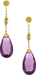 Estate Jewelry:Earrings, Amethyst, Seed Pearl, Gold Earrings. ... (Total: 2 Items)