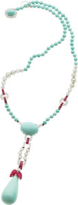 Estate Jewelry:Necklaces, Turquoise, Ruby, Cultured Pearl, Diamond, White Gold Necklace. ...
