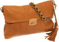 Luxury Accessories:Bags, Prada Camel Leather Fringe Clutch with Chain Shoulder Strap. ...