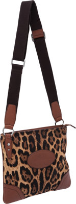 Dolce & Gabbana Leopard Canvas and Leather Messenger Bag