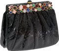 Luxury Accessories:Bags, Judith Leiber Black Snakeskin Clutch with Multi-Color CabochonStone Frame. ...