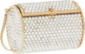 Luxury Accessories:Bags, Judith Leiber Full Bead Silver Small Tube Minaudiere Evening Bag....