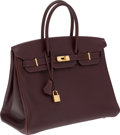 Luxury Accessories:Bags, Hermes 35cm Havana Evergrain Leather Birkin Bag with Gold Hardware....