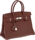 Luxury Accessories:Bags, Hermes 30cm Chocolate Togo Leather Birkin Bag with Palladium Hardware. ...
