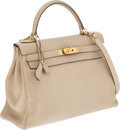 Luxury Accessories:Bags, Hermes 32cm Parchment Swift Leather Retourne Kelly Bag with GoldHardware. ...