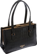 Luxury Accessories:Bags, Prada Shiny Black Crocodile Double Strap Frame Bag with Gold Hardware, Retail ~$22,000. ...