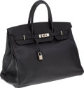 Luxury Accessories:Bags, Hermes 40cm Black Togo Leather Birkin Bag with Palladium Hardware. ...