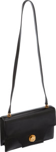 Luxury Accessories:Bags, Hermes Vintage Black Veau Miroir Leather Shoulder Bag with GoldHardware. ...