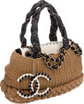 Luxury Accessories:Bags, Chanel Leather and Woven Large Shoulder Bag with Logo Charm. ...