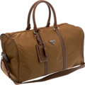 Luxury Accessories:Bags, Prada Brown Microfiber and Leather Overnight Weekender Bag. ...