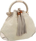 Luxury Accessories:Bags, Gucci Gray Embossed Monogram Leather Indy Hobo Bag with BambooTassels. ...