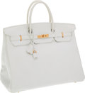 Luxury Accessories:Bags, Hermes 40cm White Clemence Leather Birkin Bag with Gold Hardware....