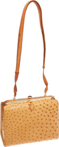 Luxury Accessories:Bags, Judith Leiber Tan Ostrich Bag with Tiger Eye Clasp. ...