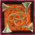 "Luxury Accessories:Accessories, Hermes Maroon And Orange ""Trompes De Chasse,"" By Henri De Linares Silk Scarf. ..."
