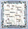 "Luxury Accessories:Accessories, Hermes Blue, Cream, And Gray Bolide,"" By Rena Dumas Silk Scarf. ..."