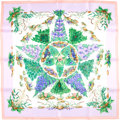 """Luxury Accessories:Accessories, Hermes Green, Pink, And Purple """"Pythagore,"""" By Zoe Pauwels SilkScarf. ..."""