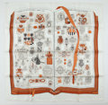 "Luxury Accessories:Accessories, Hermes White And Brown ""Chiffres Et Monogrammes,"" By Lise CoutinSilk Scarf. ..."