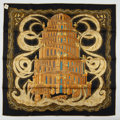 "Luxury Accessories:Accessories, Hermes Black And Gold ""Rivieres De Babel,"" By Annie Faivre SilkScarf. ..."