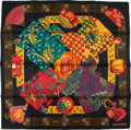 "Luxury Accessories:Accessories, Hermes Black, Gold, And Red ""Kimonos Et Inros,"" By Annie FaivreSilk Scarf. ..."