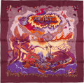 "Luxury Accessories:Accessories, Hermes Purple And Maroon ""Aube,"" By Zoe Pauwels Silk Scarf. ..."