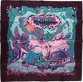 "Luxury Accessories:Accessories, Hermes Purple And Turquoise ""Aube,"" By Zoe Pauwels Silk Scarf. ..."