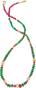 Estate Jewelry:Necklaces, Emerald, Ruby, Diamond, Gold Necklace, Julius Cohen. ...