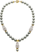 Estate Jewelry:Necklaces, South Sea Cultured Pearl, Diamond, Gold, Silver Necklace, PatriciaMakena. ...