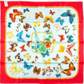"Luxury Accessories:Accessories, Hermes Special Issue Red And Light Blue ""Farandole,"" By Caty LathamSilk Scarf. ..."