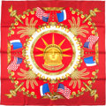"Luxury Accessories:Accessories, Hermes Red And Gold ""Liberty,"" By Joachim Metz Silk Scarf. ..."