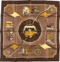 """Luxury Accessories:Accessories, Hermes Brown And Gold """"Carrossier,"""" By Philippe Ledoux Silk Scarf. ..."""