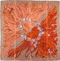 "Luxury Accessories:Accessories, Hermes Brown And Red ""Eva,"" By Philippe Dumas Silk Scarf. ..."
