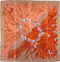 """Hermes Brown And Red """"Eva,"""" By Philippe Dumas Silk Scarf"""
