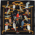 "Luxury Accessories:Accessories, Hermes Black, White, And Gold ""Oiseaux Du Roy,"" By Caty Latham SilkScarf. ..."