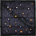 "Luxury Accessories:Accessories, Hermes Black ""Voie Lactee,"" By Wlodzimierz Kaminski Silk Scarf. ..."