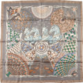 "Luxury Accessories:Accessories, Hermes Gray And Green ""Trophees De Venise,"" By Julia Abadie SilkScarf. ..."