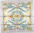 "Luxury Accessories:Accessories, Hermes Gray And Light Green ""Au Pays De Cocagne,"" By Zoe PauwellsSilk Scarf. ..."
