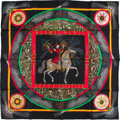 "Luxury Accessories:Accessories, Hermes Black, Red, And Yellow ""Feux D'artifice,"" By Michael DucheneSilk Scarf. ..."