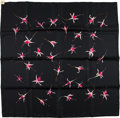 "Luxury Accessories:Accessories, Hermes Black And Pink ""Fleurs De Fuchsia,"" By Leigh P. Cooke SilkScarf. ..."