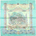 "Luxury Accessories:Accessories, Hermes Teal And Seafoam ""Atlantide,"" By Annie Faivre Silk Scarf...."