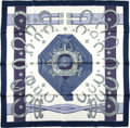 "Luxury Accessories:Accessories, Hermes Navy And White ""Porte Bonheur,"" By Caty Latham Silk Scarf...."