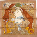 "Luxury Accessories:Accessories, Hermes Brown And Gold ""Chasse Au Bois,"" By Carl De Parcevaux Silk Scarf. ..."