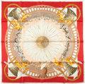"""Luxury Accessories:Accessories, Hermes Special Limited Issue With Jacquard Weave White And Red""""Amours,"""" By Annie Faivre Silk Scarf. ..."""