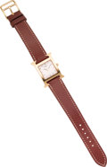 Luxury Accessories:Accessories, Hermes Brown Leather Gold H Hour Watch. ...
