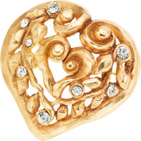 Christian LaCroix Gold Leaf Pattern Heart and Crystal Pin