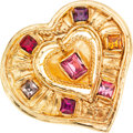 Luxury Accessories:Accessories, Christian LaCroix Gold Heart and Colored Crystal Pin. ...