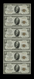 National Bank Notes:Missouri, Saint Louis, MO - $10 1929 Ty. 1 The Boatmen's NB Ch. # 12916 UncutSheet of Six. A nice serial number 13 uncut Type One...