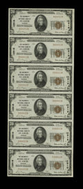 National Bank Notes:Missouri, Saint Louis, MO - $20 1929 Ty. 1 The Boatmen's NB Ch. # 12916 UncutSheet of Six. Serial number 13 adorns this $20 uncut...