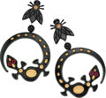 Luxury Accessories:Accessories, Isabel Canovas Black Lucite & Gold Detail Fly and Lizard Earrings. ...